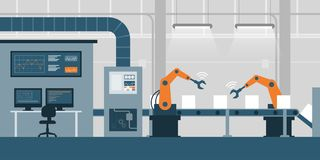 Smart factory and production line stock illustration
