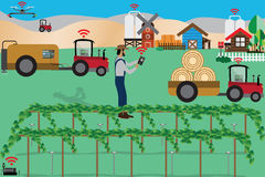 Smart Farm Concept,Farmer controls his farm with smartphone and Royalty Free Stock Photo