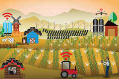 Smart Farm Concept,Farmer used technology to control and watchin. G his farm - Vector Illustration Stock Photos