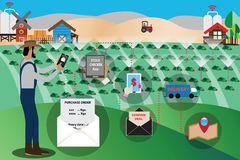 Smart Farm Concept,online marketing with application - Vector. Illustration Royalty Free Stock Photo
