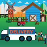 Smart Farm Concept,online purchase,packing and delivery - Vector. Illustration Stock Photography