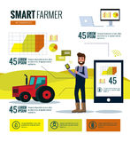Smart farmer infographics. Farm Data analysis and management concept. Stock Photo