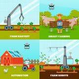 Smart Farming 2x2 Design Concept Stock Photo