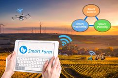 Smart farming, Hi-Tech Agriculture 4.0 stock photos