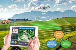 Smart farming 4.0 , Hi-Tech Agriculture conceptual, Drone AI. Automatic royalty free stock photography