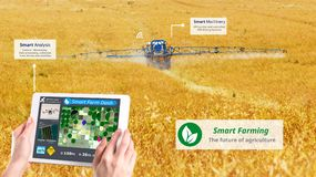 Smart farming, Hi-Tech Agriculture revolution, Drone AI automatic, Conceptual royalty free stock photos