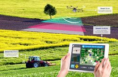 Smart farming, Hi-Tech Agriculture revolution, Drone AI automatic, Concept stock photo