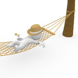 Smart figure chilling in hammock Royalty Free Stock Photo