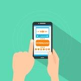 Smart finger för handlag för knapp för nedladdning för telefonköpmusik stock illustrationer