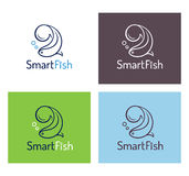 Smart fish logo template set Royalty Free Stock Photos