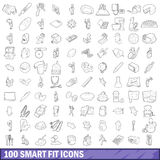 100 smart fit icons set, outline style Royalty Free Stock Images