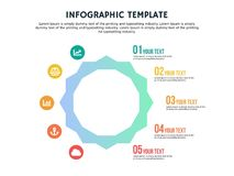 Smart flat hexagonal infographic template and powerpoint. Infographic elements, designs cover all styles and creative to formal and business presentations, flyer royalty free illustration
