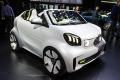 Smart Forease all electric compact car. PARIS - OCT 2, 2018: Smart Forease all electric compact car debut at the Paris Motor Show royalty free stock photos
