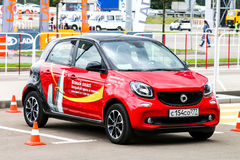 Smart Forfour. MOSCOW, RUSSIA - SEPTEMBER 2, 2016: Red supermini car Smart Forfour in the city street Royalty Free Stock Image