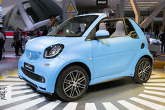 Smart Fortwo Cabrio. FRANKFURT, GERMANY - SEP 16, 2015: New Smart Fortwo Cabrio presented at the IAA 2015 Stock Photo