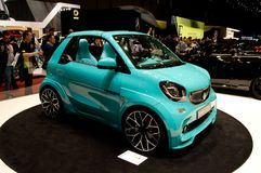 Smart ForTwo Cabrio: Soft-Top at Geneva 2017 Royalty Free Stock Photos