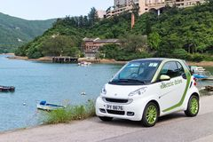 Smart fortwo electric drive test drive Royalty Free Stock Images