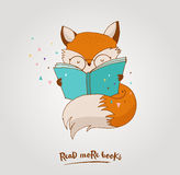 Smart Fox, reading book, greetin card Stock Images
