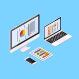 Smart för cell för bärbar datorminnestavladator telefon med finanspajdiagrammet Royaltyfria Bilder