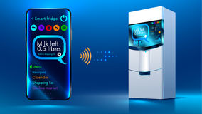 Smart fridge iot. Smart fridge. The smartphone controls via a wireless connection via the Internet with a smart fridge. Internet of things. IOT. Smart House Stock Photo
