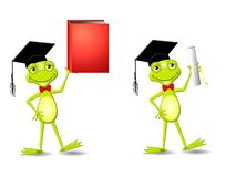 Smart Frog Graduate. An illustration featuring a happy smiling frog wearing a graduate hat - your choice of holding a book or a diploma stock illustration