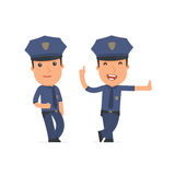 Smart and Funny Character Officer leaned against the wall and sh Stock Image