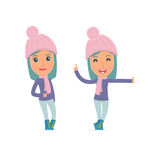 Smart and Funny Character Winter Girl leaned against the wall and shares information Stock Photos