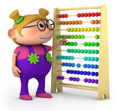 Smart girl. Smart little girl with abacus - high quality 3d illustration - high quality 3d illustration Royalty Free Stock Photo