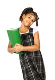 Smart girl with big green book Stock Photos