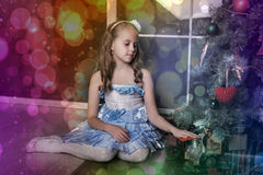 Smart girl in a blue dress Stock Images