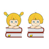 Smart girl and boy students Royalty Free Stock Image