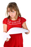 Smart girl going through sheets of paper isolated Stock Photo