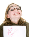 Smart girl with good grade Royalty Free Stock Photos