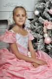 Smart girl in a pink dress Royalty Free Stock Photo