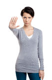 Smart girl shows stop gesture Stock Images