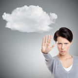 Smart girl shows stop gesture to cloud, close up Royalty Free Stock Photography