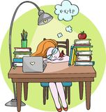 Smart girl studying at night sleeping on the desk with books - Vector illustration Royalty Free Stock Photography