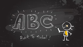 Smart Girl writing abc on blackboard. Smart little girl writing abc on blacboard. Back to school sketch, doodle style vector illustration, hand drawn stick Royalty Free Stock Photography