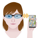 Smart glasses connect to smart phone, Wearable device, illustration Royalty Free Stock Photos