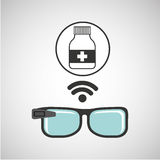 Smart glasses connected bottle capsule Stock Images