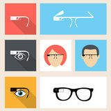 Smart glasses icon set Royalty Free Stock Photography