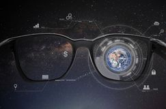 Smart glasses, VR virtual reality, and AR augmented reality technology. Element of this image are furnished by NASA royalty free stock image