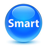 Smart glassy cyan blue round button Royalty Free Stock Photos