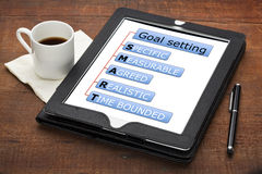 Smart goal setting concept. SMART (specific, measurable, agreed, realistic, time bounded) goal setting concept - diagram on tablet computer with stylus pen and royalty free stock photos