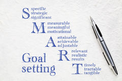 Smart goal setting concept. Handwriting on a white lokta paper royalty free stock photography