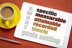 Smart goal setting concept. SMART specific, measurable, attainable recorded, timely goal setting concept on a digital tablet with a cup of coffee stock photo