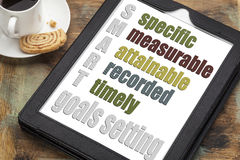 Smart goal setting concept. SMART (specific, measurable, attainable recorded, timely) goal setting concept on a digital tablet computer with espresso coffee cup royalty free stock image