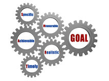 Smart goal in silver grey gears Stock Photos