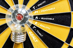 SMART GOALS and Big bulb target on bullseye Royalty Free Stock Image