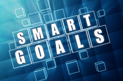 Smart goals in blue glass cubes Stock Photos